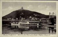 Porta Westfalica ~1940 Sütterlin Kaiser Wilhelm Denkmal Fluß Weser Schiff Brücke