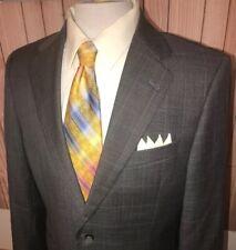 Joseph Abboud Mens Suit Jacket 42R Gray Blue Plaid Wool Super 120's Tailored Fit