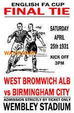 1931 FA Cup Final-oeste, Brom (ganadores) V Birmingham-Estilo Vintage Cartel