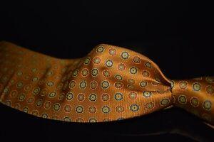 NWT Brooks Brothers Makers Italian Heavy Madder Silk Burnt Ochre Floret Neat Tie