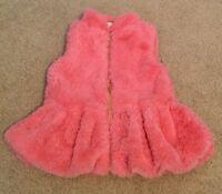 Little Lass Girls Vest Size 12 months Pink Fur Soft