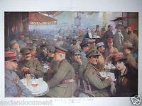 PHOTOGRAVURE 1918 LE CAFÉ DE LA PAIX PENDANT LA GUERRE - SABATTIER