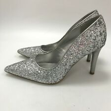 Marks & Spencers Insolia High Heel Shoes Womens Size 3.5 Silver Glitter 301365