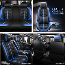 Blue Luxury Breathable Microfiber Leathe Car Seat Cover Cushion W/ Waist Pillows