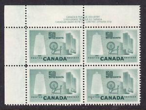 CANADA #334 50c Lt GREEN, 1953 UL PLATE-2 CORNER BLOCK on HZ RIBBED PAPER