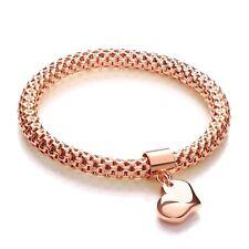 J JAZ Mila 925 Rose Gold Plated Mesh Heart Tag Charm Bangle Bracelet