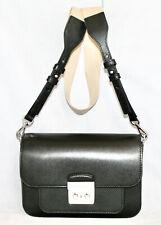 MICHAEL KORS Sloan Editor Push Lock Flap Shoulder Bag Smooth Black Leather
