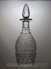 """ROYAL DOULTON CRYSTAL CUT GLASS ROUND WINE DECANTER - 12"""" TALL"""