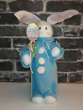 """🌟 Vintage 13"""" Easter Bunny In Blue Outfit With Egg Staff (D2)"""