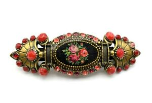 MICHAL NEGRIN Romantic Floral Roses Hair Pin Clip, Red Swarovski Crystals, New