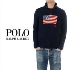 POLO RALPH LAUREN BOYS AMERICAN FLAG HALF ZIP PULLOVER SWEATER NAVY SIZE XL