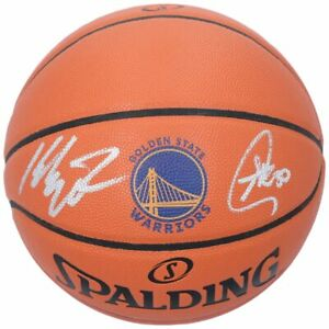 STEPHEN CURRY / KLAY THOMPSON Autographed Warriors Spalding Basketball FANATICS