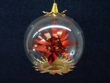 Vintage Resl Lenz Foil & Glass Ornament POINSETTIA Foil West Germany (o1189)