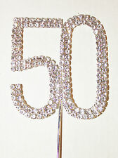 Number 50, Large Diamante Cake Topper, Birthday, Golden Anniversary, Cakes