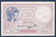 FRANCE - 5 FRANCS VIOLET - Fayette n° 4.13 - 26=10=1939.LG en TTB  724  C.65111