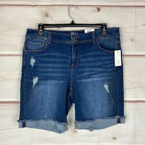 Style & Co Plus Size Distressed Mid Rise Denim Womens 16W Blue Bermuda Shorts