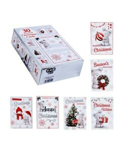 30 CUTE CHRISTMAS CARDS BUMPER BOX 6 DESIGNS 5 OF EACH WITH VERSE AND ENVERLOPES