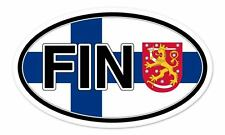 "Finland Flag FIN Coat of Arms Flag Oval car window bumper sticker decal 5"" x 3"""