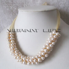 18 Inches 6-7mm White Freshwater Pearl Necklace Bib Necklace with Yellow Ribbon