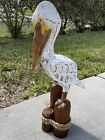 """25"""" WHITE BROWN PELICAN ON PILING HAND CARVED WOOD TROPICAL SCULPTURE BIRD DECOR"""