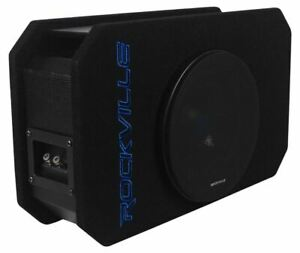 "Rockville RMW8P 8"" 800w Shallow Car Subwoofer+Tunnel Slot Ported Sub Enclosure"