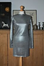 LADIES CHEAP MONDAY STOCKHOLM SILVER BODYCON DRESS SIZE XS