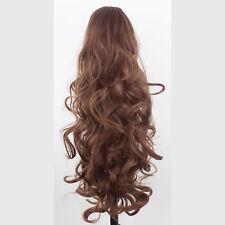 "22"" PONYTAIL Clip Hair Piece WAVY Chestnut Brown REVERSIBLE Claw Clip"