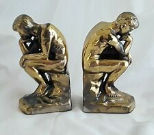 Original Set of THE THINKER Book Ends Dated 1928 NUDE MAN ON ROCK Metal Bookends
