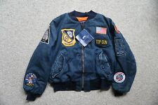Alpha Industries Hecho en USA 2XL MA-1 Azul Marino Deck Chaqueta Top Gun