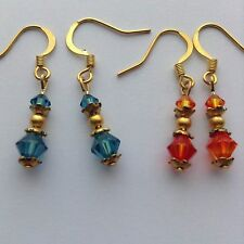 2Pairs Blue Zircon & Fire Opal Swarovski Crystal Gold P Dangle Earrings Jewelry