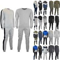 Mens Contrast Side Blocks Pockets Long Sleeve Joggers Jogging Gym Tracksuit Set