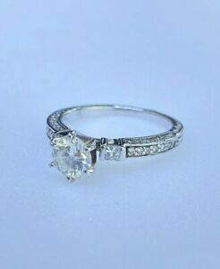14K White Gold 3 Stone Diamond Engagment Ring 1.15CTW New Vintage Carved Style