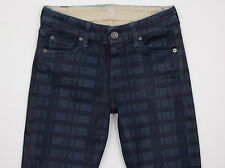7 Seven for All Mankind Skinny Leggings Waxed Coated Jeans Blue Laser Plaid 25W