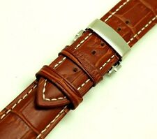 22mm Brown Croco Embossed Leather Contrast Stitch Watch Strap Butterfly Clasp