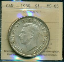 1939 Canada King George VI Silver Dollar ICCS MS-65 Certified