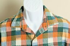 Tommy Bahama Men's white, teal and orange long sleeve flannel shirt Large L