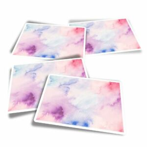 4x Rectangle Stickers - Pink Watercolor Ink Art  #15788