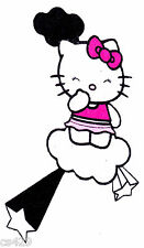 """6"""" HELLO KITTY CLOUDS & STARS  CHARACTER FABRIC APPLIQUE IRON ON"""