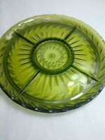 Vintage Indiana Glass Avacodo Green Divided Tray Lazy Susan Mid Century Modern