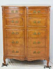 Vintage John Stuart Highboy Chest on Chest, French Provincial Walnut Dresser