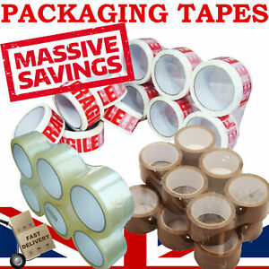 STRONG BROWN / FRAGILE PARCEL PACKING PACKAGING TAPE  CARTON SEALING 48MM X 66M