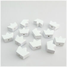 50PCS 20MM WHITE COLOUR CROWN SHAPED WOODEN BEADS FOR JEWELLERY MAKING