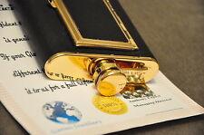 6oz Hip Flask With Cigarette Cigar Case Holder Box Tobacco Case 24K Gold Plated