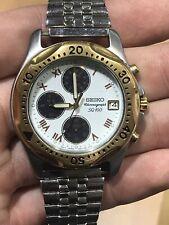 Seiko SQ100 Mens Two Tone Chronograph Wrist Watch V657-7030 Date Runs