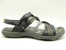Merrell Move Black Brown Leather Adjustable Outdoor Sandals Shoes Women's 6