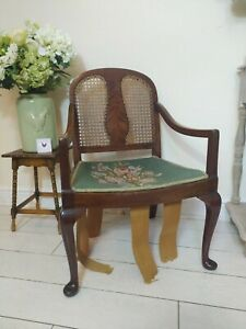 Antique Cane Bergere Chair Rosewood framed Needlepoint Queen Anne Legs parlour