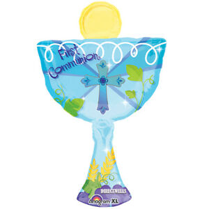 "First Communion Cup Jumbo Blue Foil / Mylar Balloon 31"""