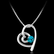 Elegant 18k 18CT White Gold Filled GF Blue CZ Heart Pendant Necklace N-A742 Gift