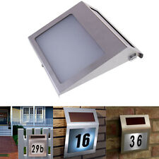 New Solar Powered Stainless Steel 3 LED Doorplate Lamp House Number Light