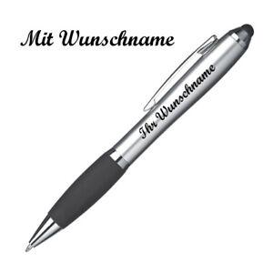 Touchpen Kugelschreiber mit Namensgravur - Farbe: silber-schwarz